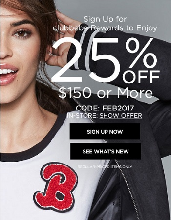 Coupon for: Clubbebe members save 25% off purchase