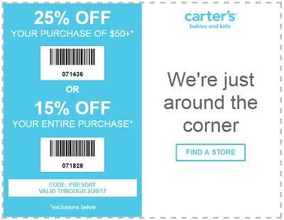 Coupon for: Shop carter's Presidents' Day Sale