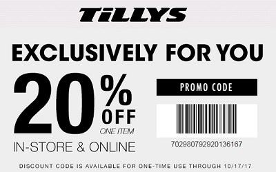 Coupon for: U.S. TILLYS printable coupon: Receive 20% off