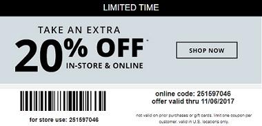 Coupon for: U.S. Payless ShoeSource: 20% Savings pass